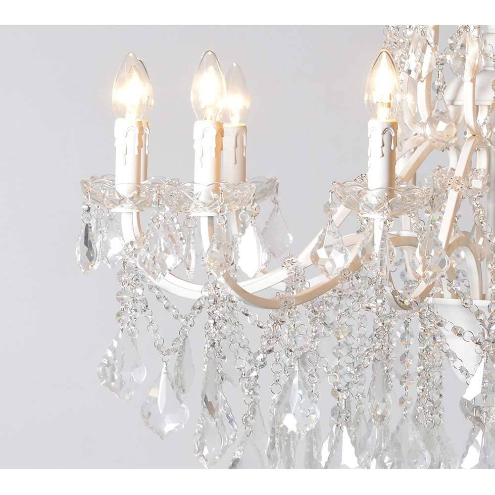 Chambery White Glass Chandelier Crystal Chandelier Pertaining To French Glass Chandelier (Image 4 of 15)