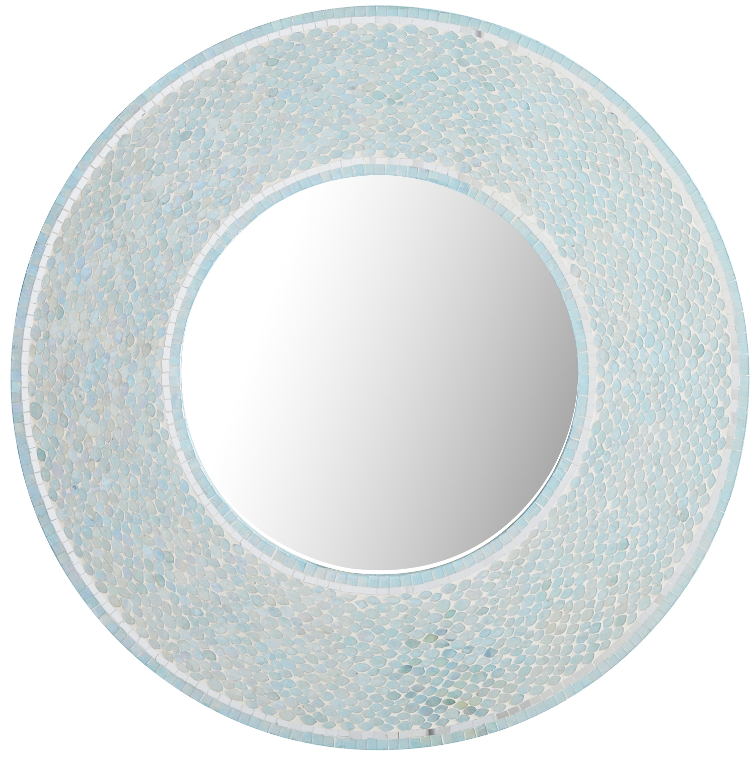 Champagne Mirror Aqua Round Mirrors And Mosaics Throughout Blue Round Mirror (Image 3 of 15)