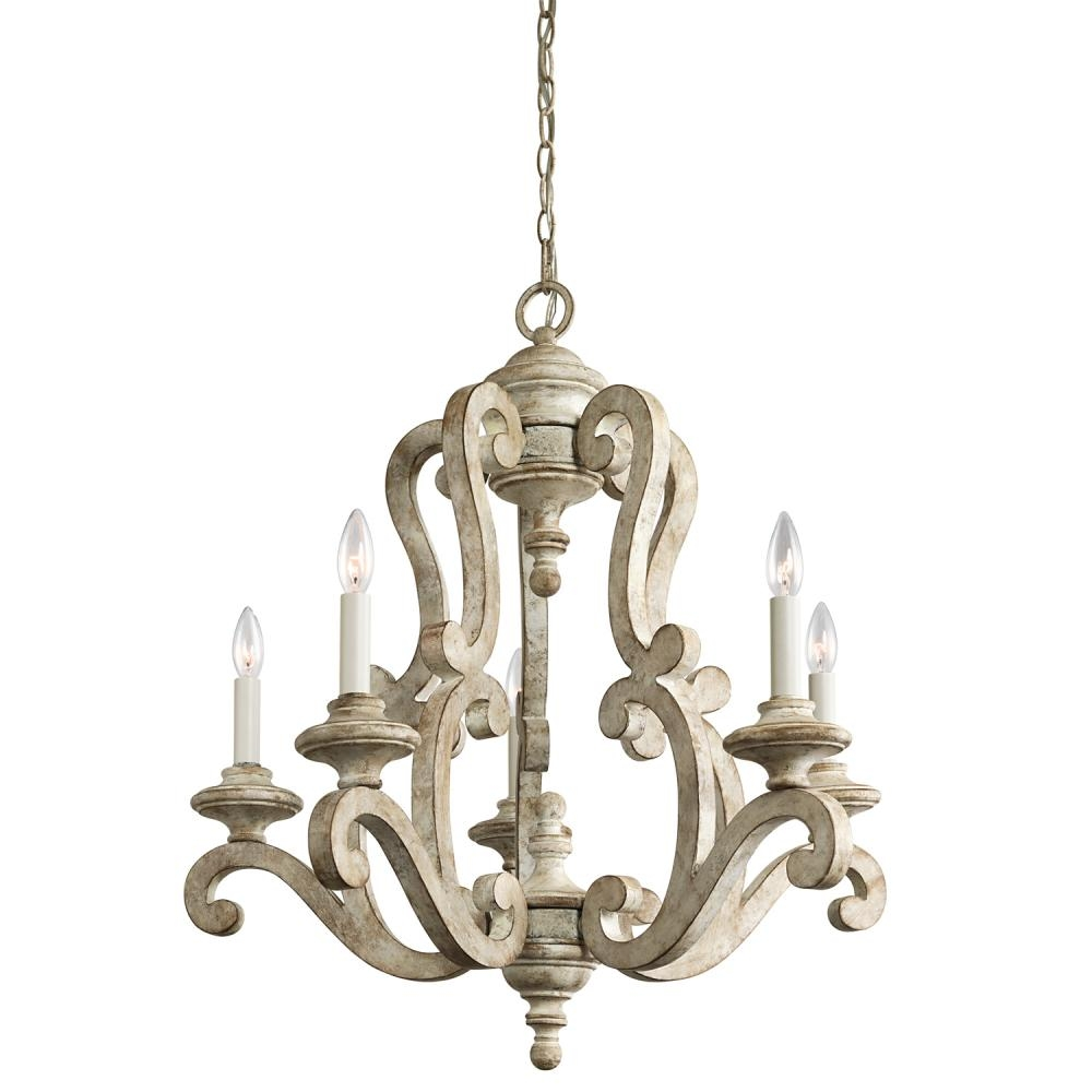 Chandelier 5lt 43256daw Living Lighting Newmarket Pertaining To French Wooden Chandelier (Image 4 of 15)