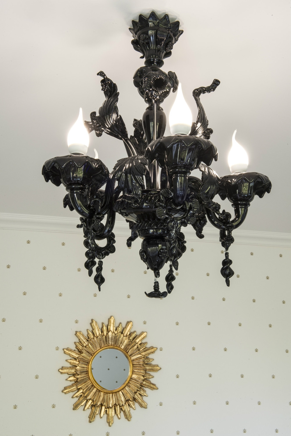 Chandelier Astounding Black Glass Chandelier Glass Ball With Regard To Black Glass Chandelier (Image 7 of 15)