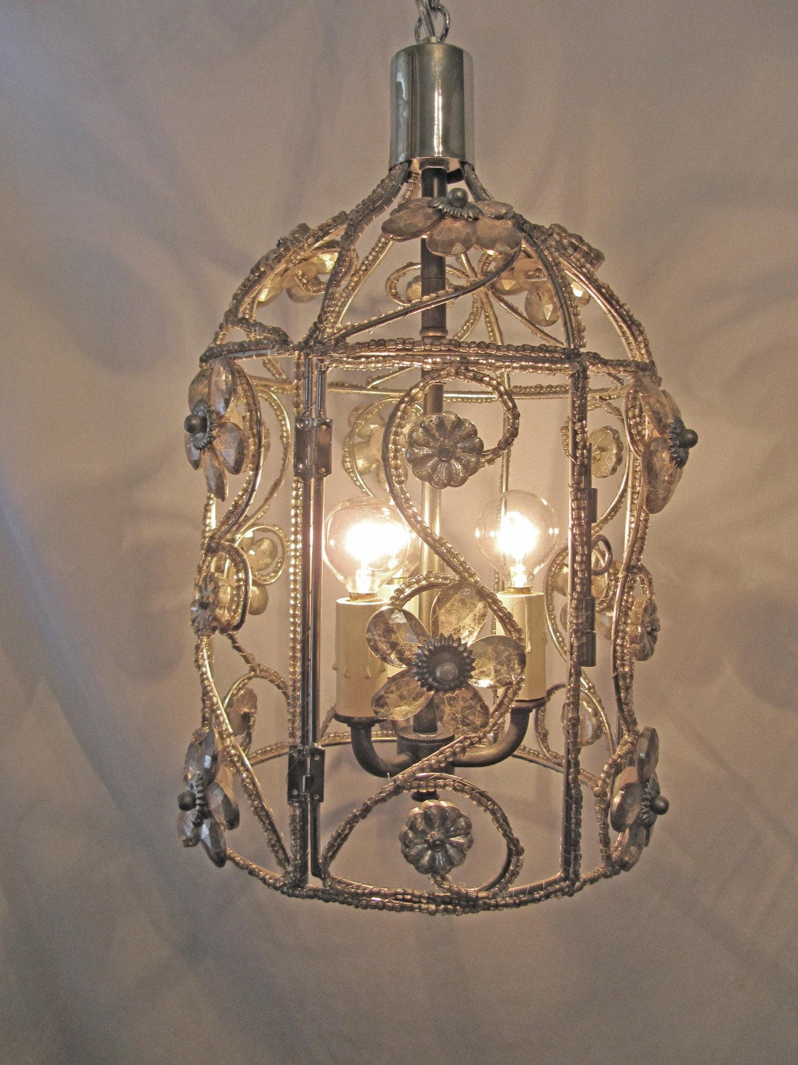 Chandelier Bird Cage Fixture Custom Repurposed 3 Lights Nickel With Caged Chandelier (Image 5 of 15)