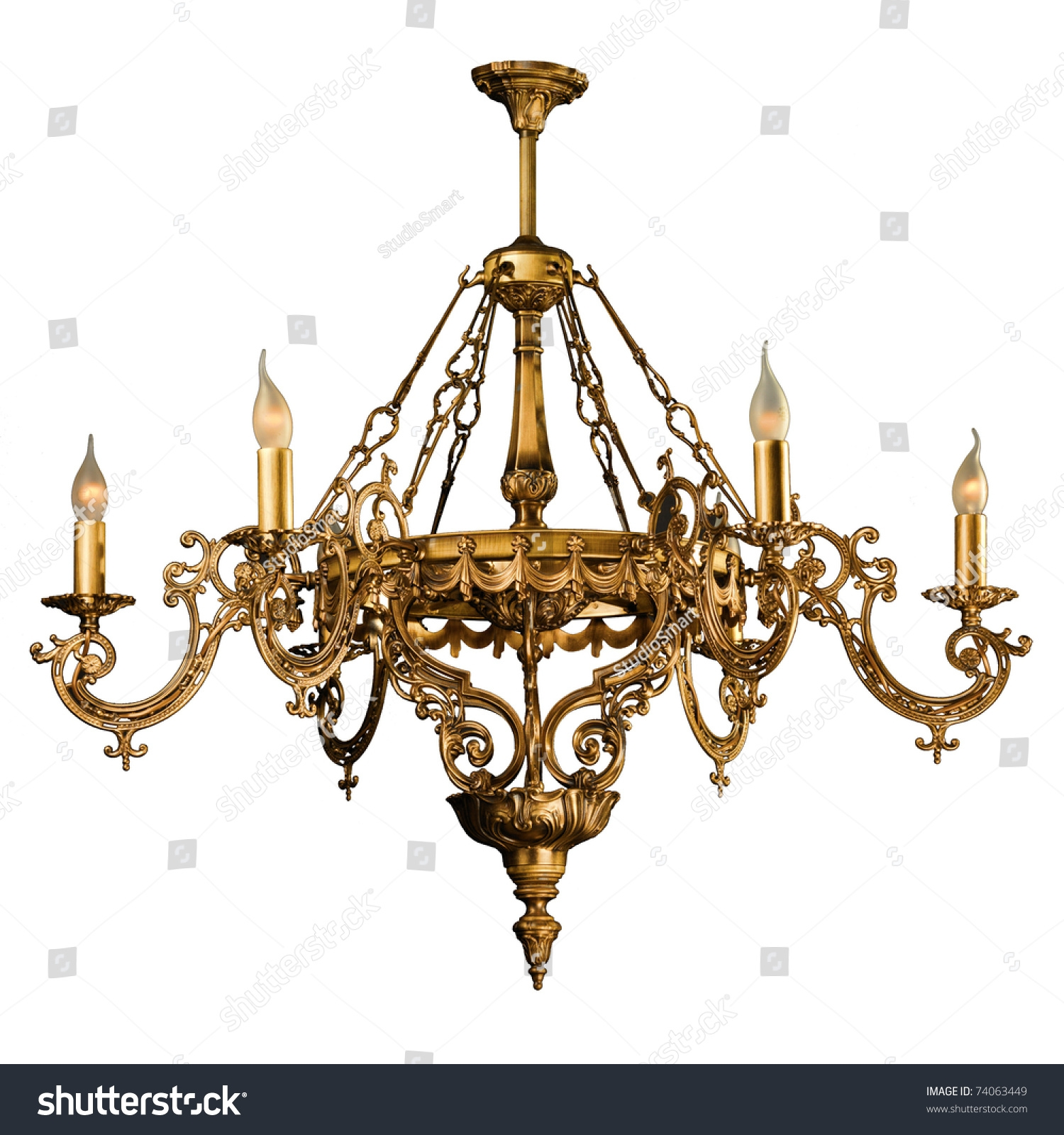 Chandelier In Vintage Style Isolated On White Stock Photo 74063449 With Regard To Vintage Style Chandelier (Image 6 of 15)