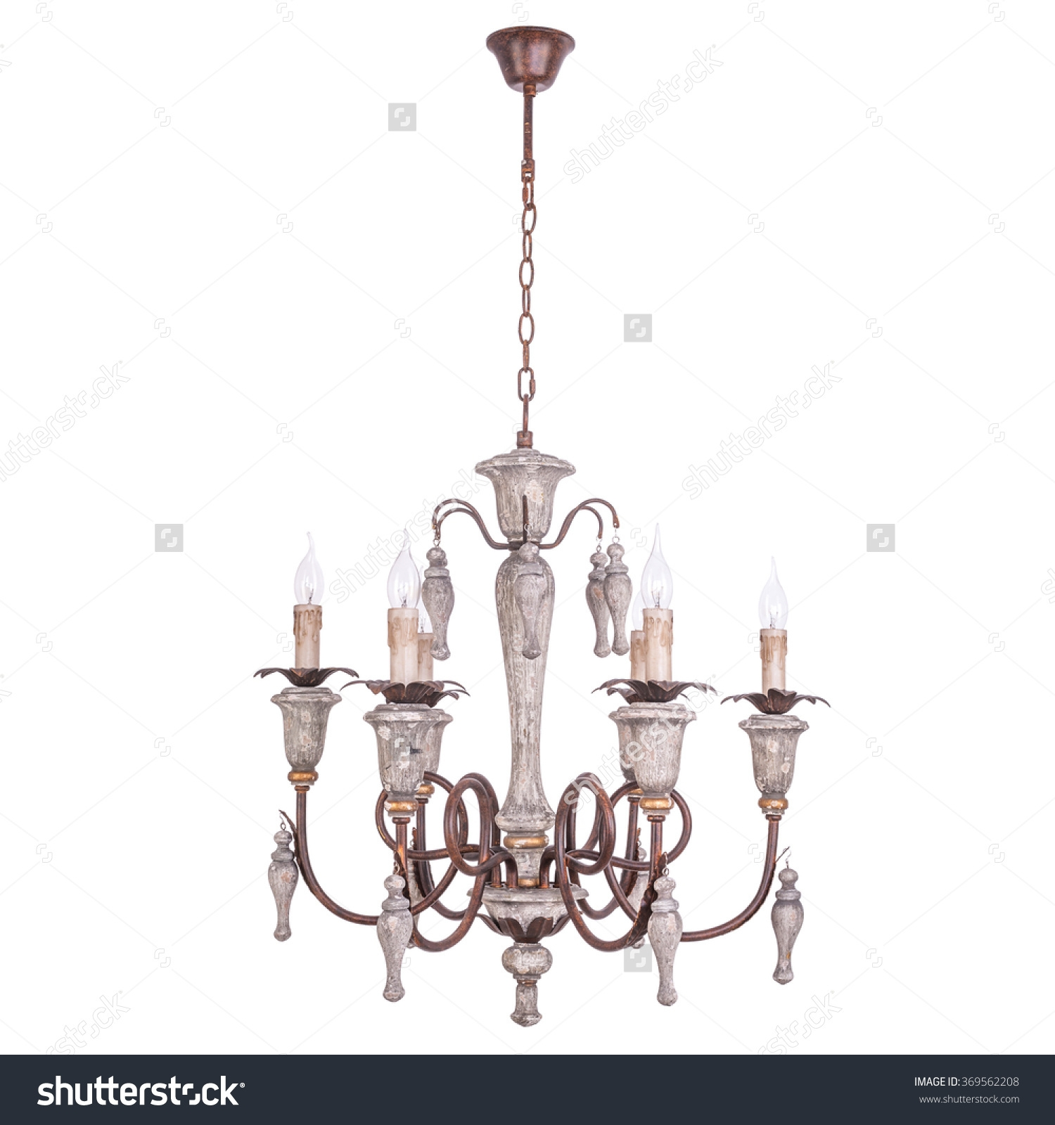 Chandelier Vintage Style Isolated On White Stock Photo 369562208 In Vintage Style Chandelier (Image 7 of 15)
