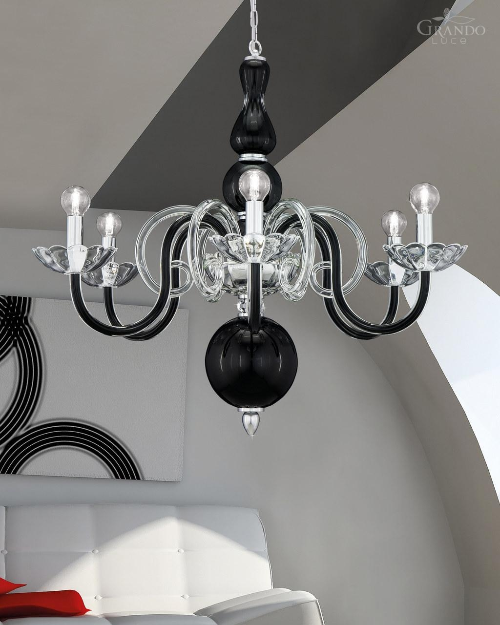 Chandeliers 1186 Ch Chrome Black Crystal Chandelier Grandoluce With Contemporary Black Chandelier (Image 5 of 15)