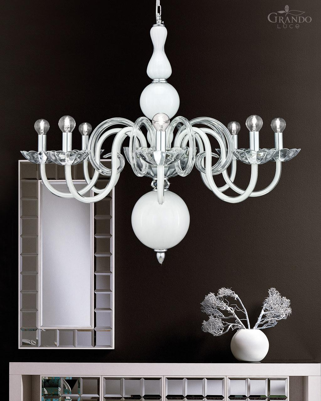 Chandeliers 1188 Ch Chrome White Crystal Chandelier Grandoluce With Regard To White Chandeliers (Image 6 of 15)