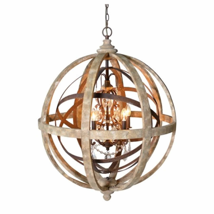 Chandeliers Glamorous Sphere Chandelier Wooden Orb Chandelier In Globe Crystal Chandelier (Image 5 of 15)