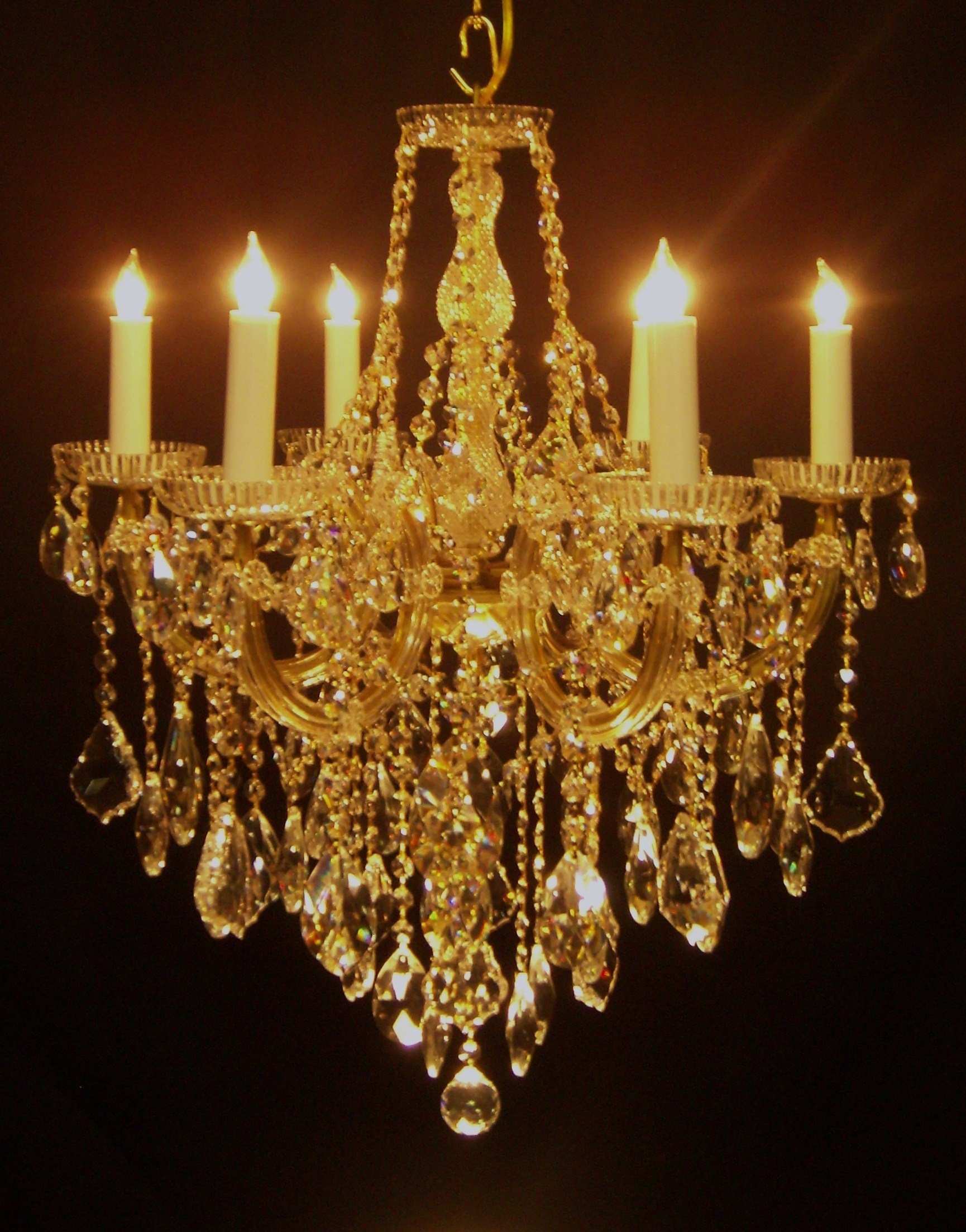 Chandeliers Mortons Antiques Within Crystal Gold Chandelier (Image 9 of 15)