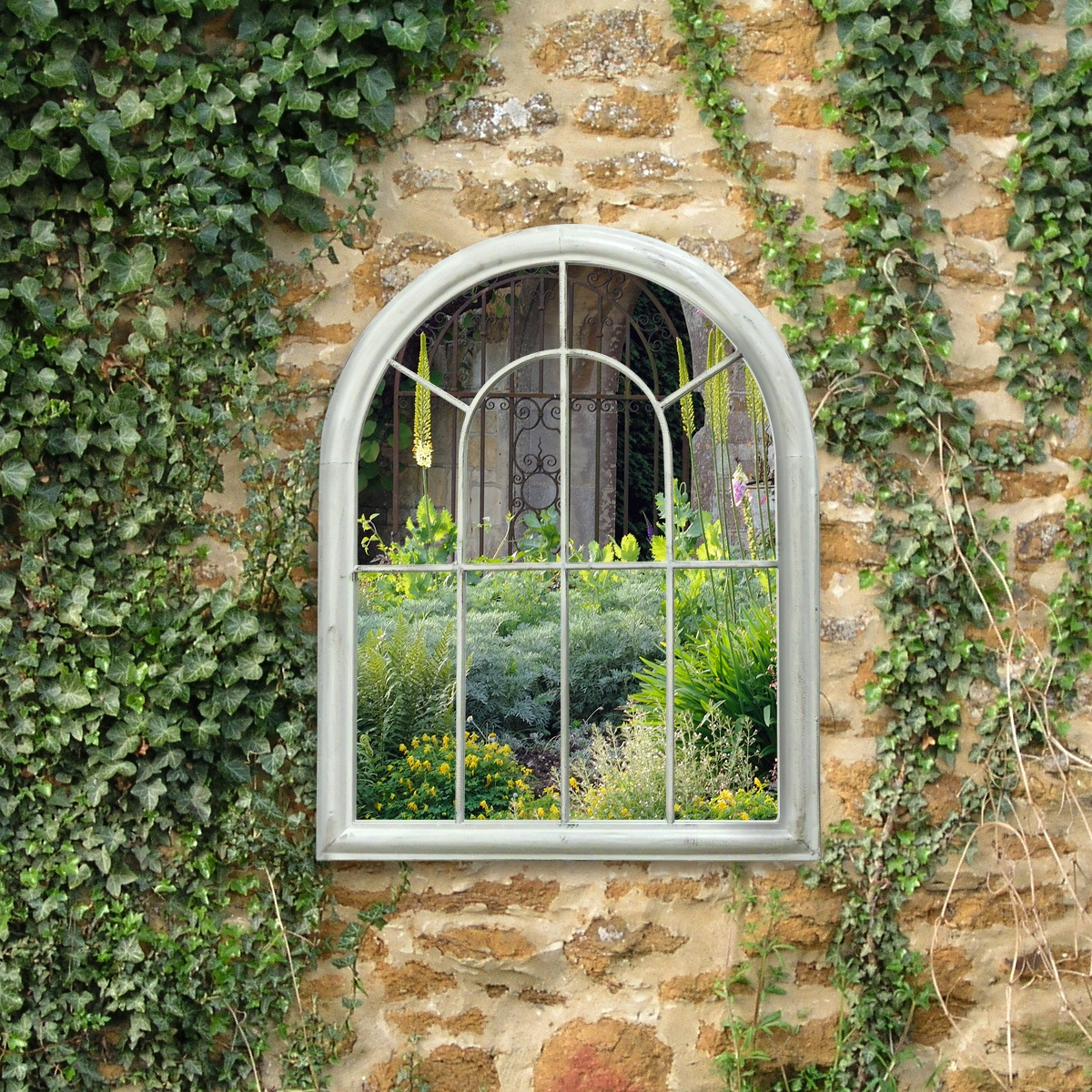 Charles Bentley White Arch Outdoor Mirror Charles Bentley Throughout Garden Wall Mirrors (View 12 of 15)