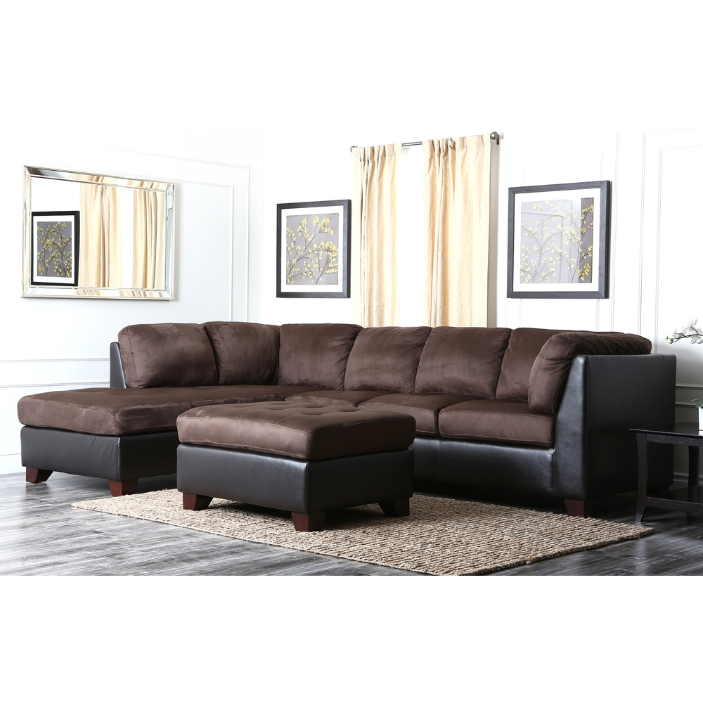 Charlotte Black Faux Leather Convertible Sectional Sofa Bed For Abbyson Living Charlotte Dark Brown Sectional Sofa And Ottoman (Image 4 of 15)
