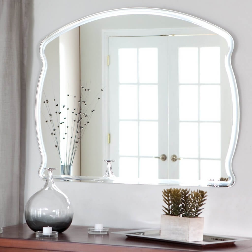 Charming Decoration Frameless Wall Mirror Beautiful Inspiration Throughout Vintage Frameless Mirrors (Image 1 of 15)