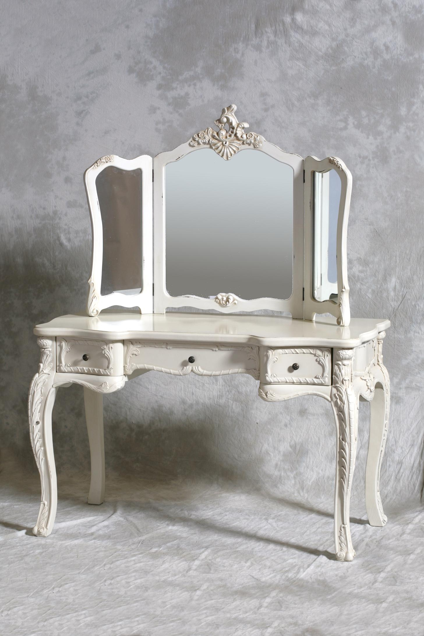 Chateau Vintage Style Antique White Dressing Table Mirror Stool Throughout Ornate Dressing Table Mirror (Image 2 of 15)