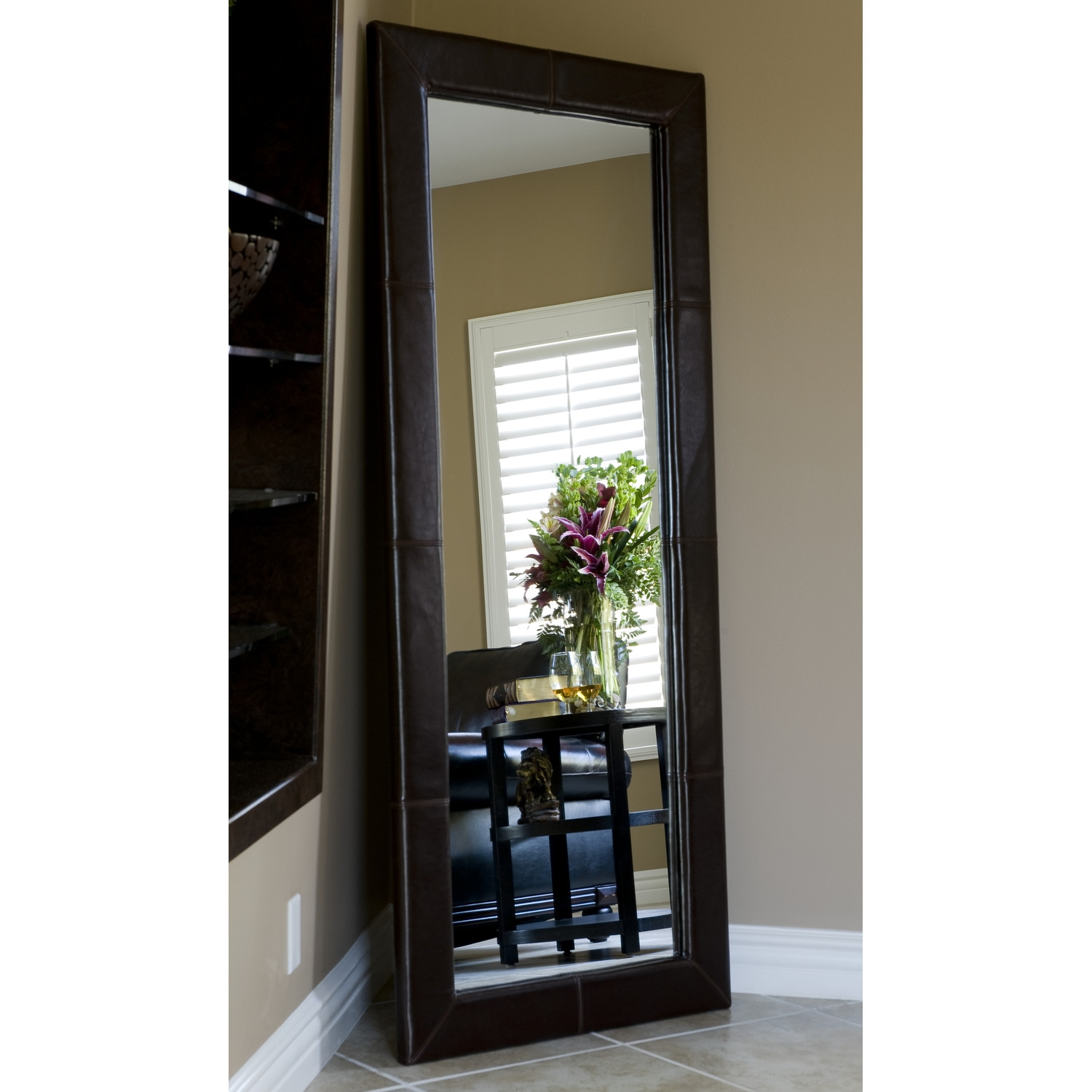 Cheap Full Length Mirrors Harpsoundsco With Regard To Black Leather Framed Mirror (Image 4 of 15)