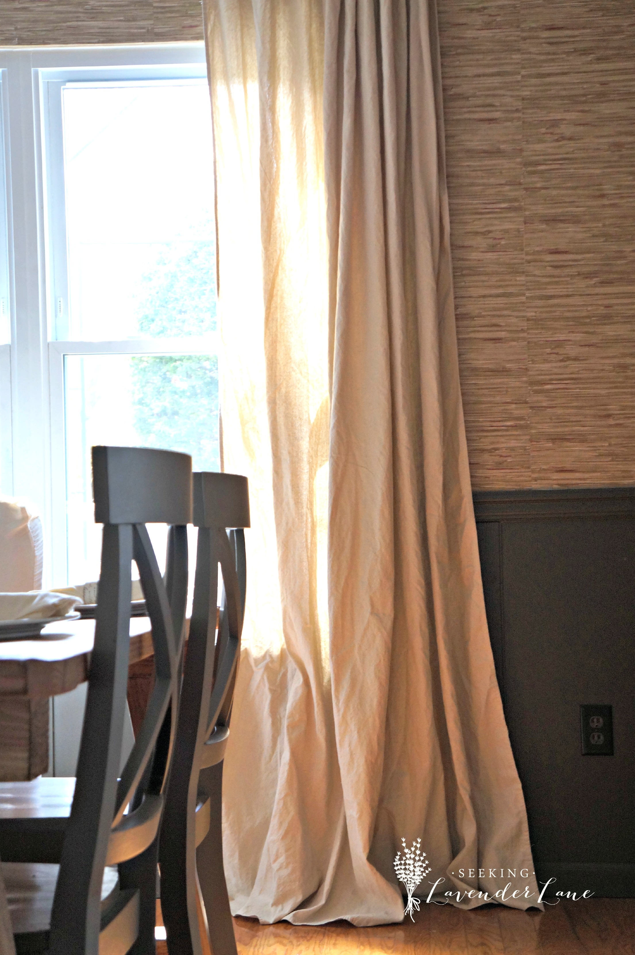 Cheap Home Decor Easiest Diy Drop Cloth Window Treatments For 8 Ft Drop Curtains (View 2 of 15)