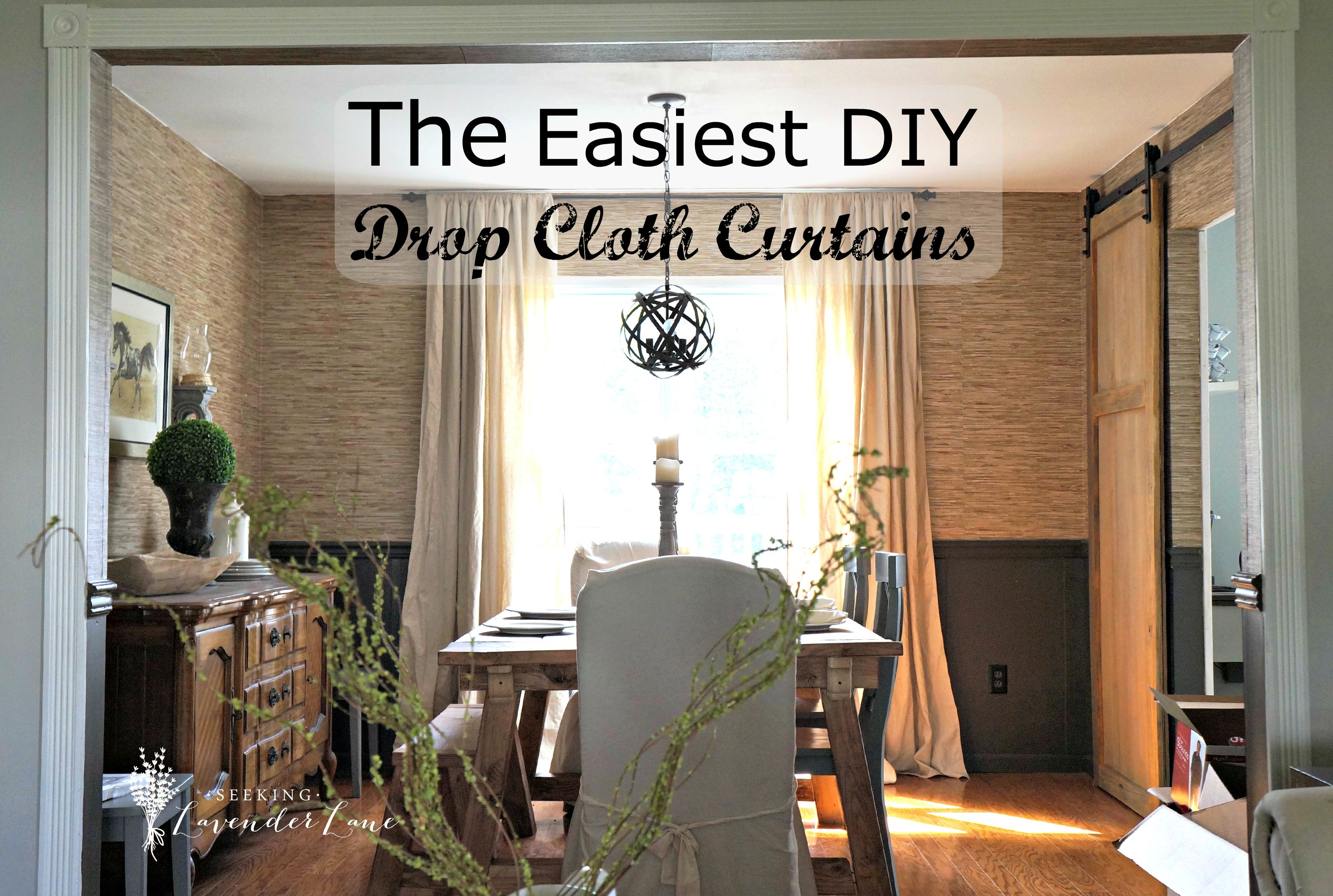 Cheap Home Decor Easiest Diy Drop Cloth Window Treatments In 8 Ft Drop Curtains (Image 5 of 15)