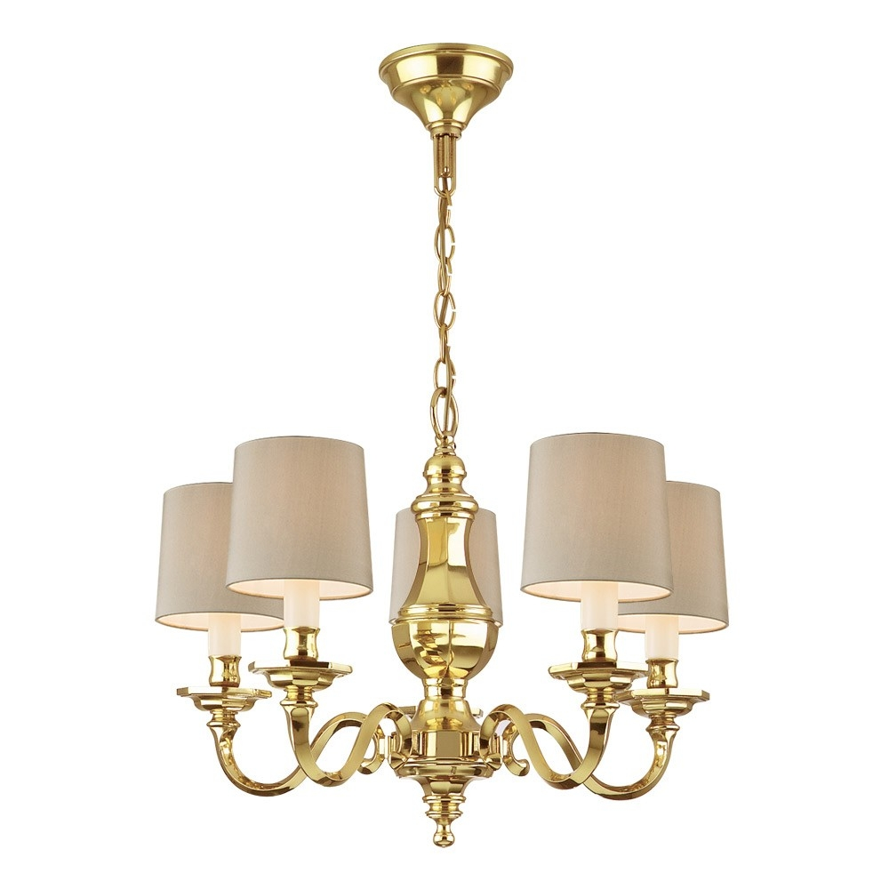 Chelsom Georgian Chandelier With 5 Arms Polished Brass Houseology In Georgian Chandelier (Image 4 of 15)