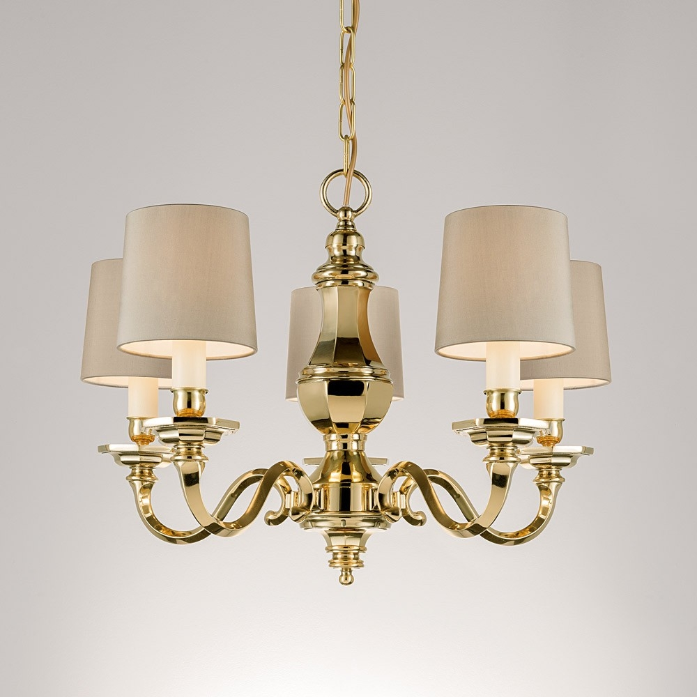 Chelsom Georgian Chandelier With 5 Arms Polished Brass Houseology Within Georgian Chandelier (Image 5 of 15)