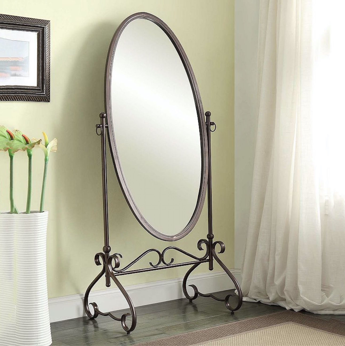 Cheval Floor Mirror Large Oval Antique Bedroom Full Length Tilt Intended For Antique Free Standing Mirror (Image 7 of 15)