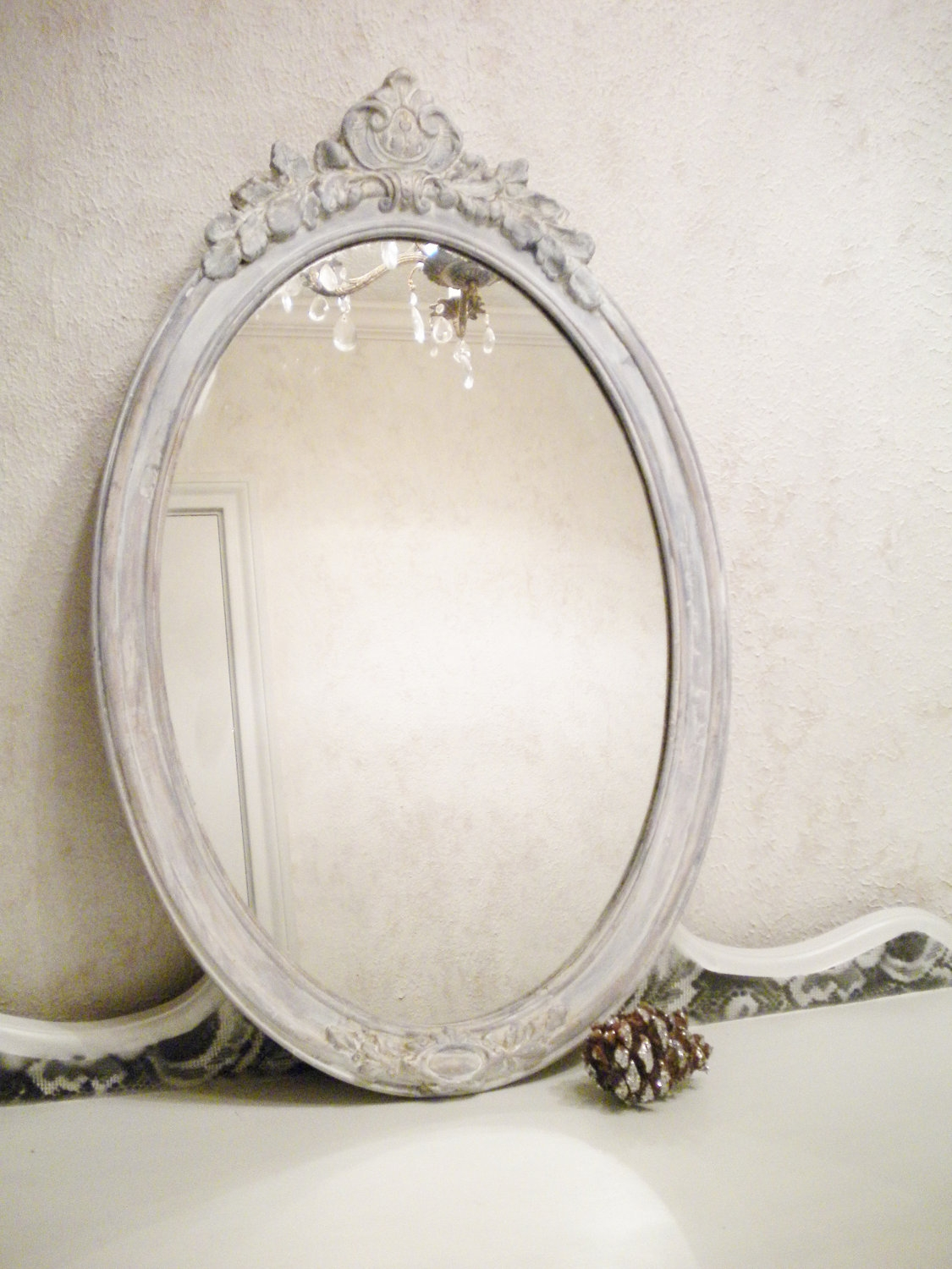 Chic Vintage Mirror Large Vintage Wood Shab Chic Mirror Vanity With Regard To Oval Shabby Chic Mirror (Image 5 of 15)