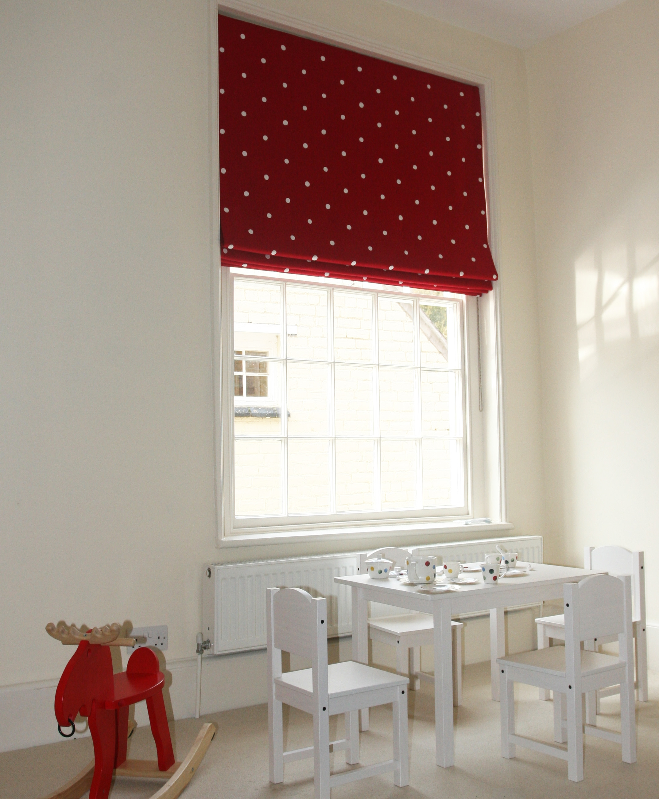 Childrens Bedroom Blackout Lined Roman Blind In Moghuls Throughout Roman Blinds With Blackout Lining (Image 4 of 15)