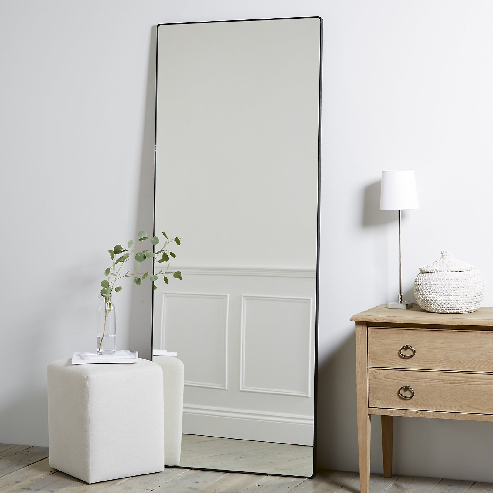 Chiltern Thin Metal Rectangular Mirror The White Company Uk Throughout White Metal Mirror (Image 2 of 15)