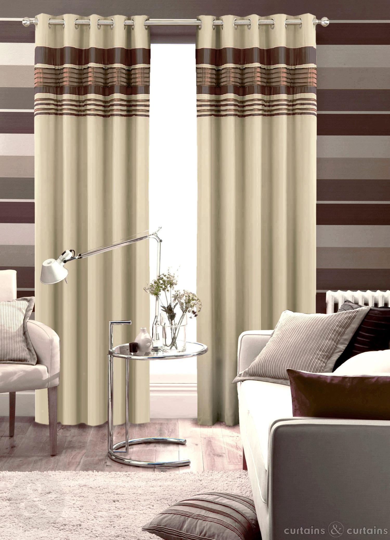 Chocolate Brown Next Readymade Eyelet Curtain Curtains And Throughout Cream And Gold Eyelet Curtains (Image 5 of 15)
