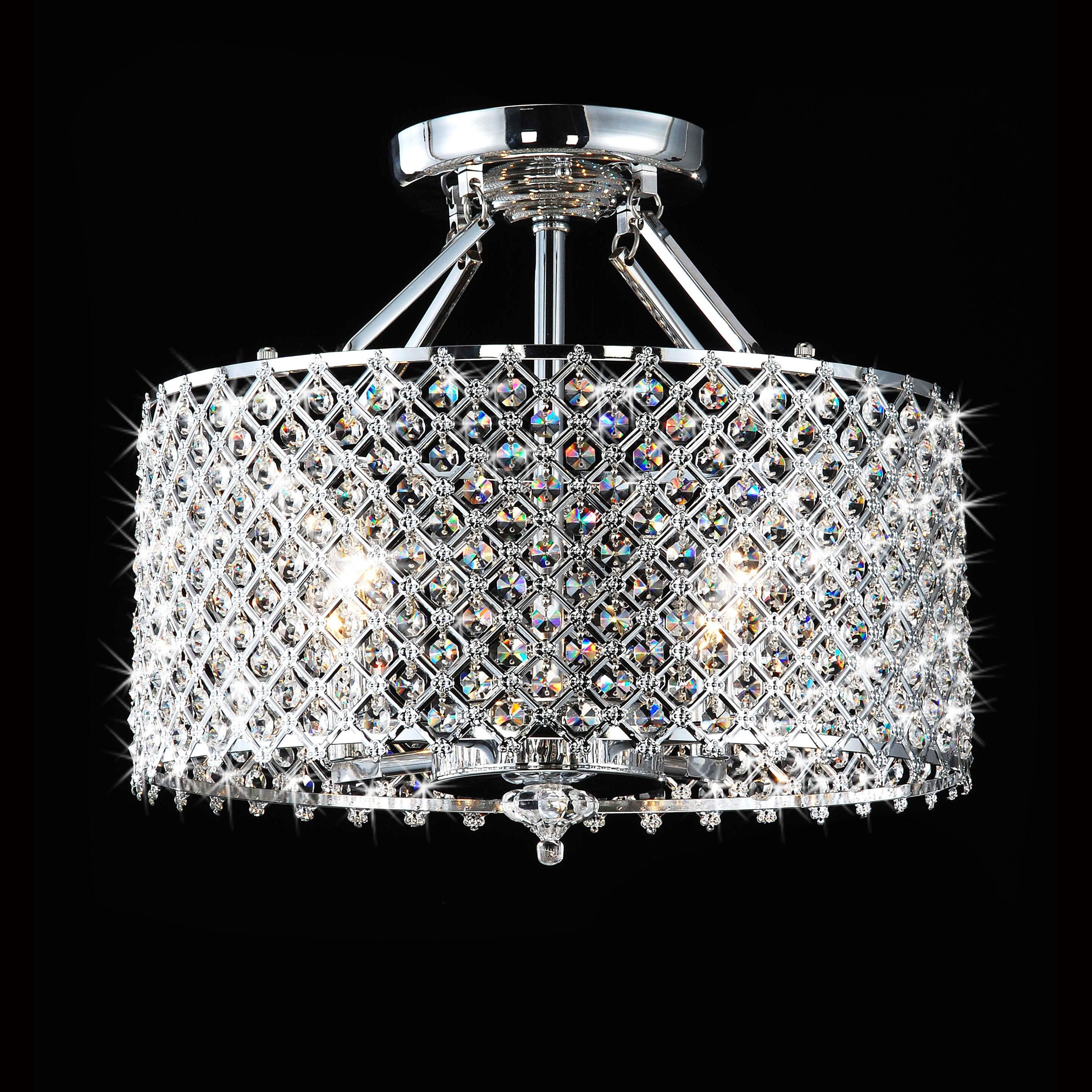 Chrome Crystal 4 Light Round Ceiling Chandelier The Lighting Pertaining To Small Chandeliers For Low Ceilings (Image 4 of 15)