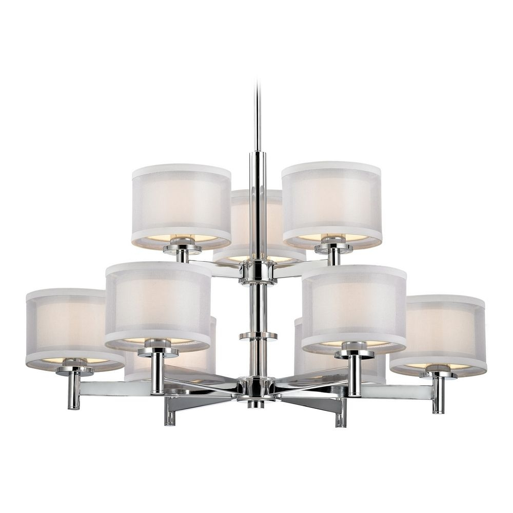 Chrome Modern Chandelier With White Shades In Chrome Finish 1272 For Modern Chrome Chandelier (Image 8 of 15)