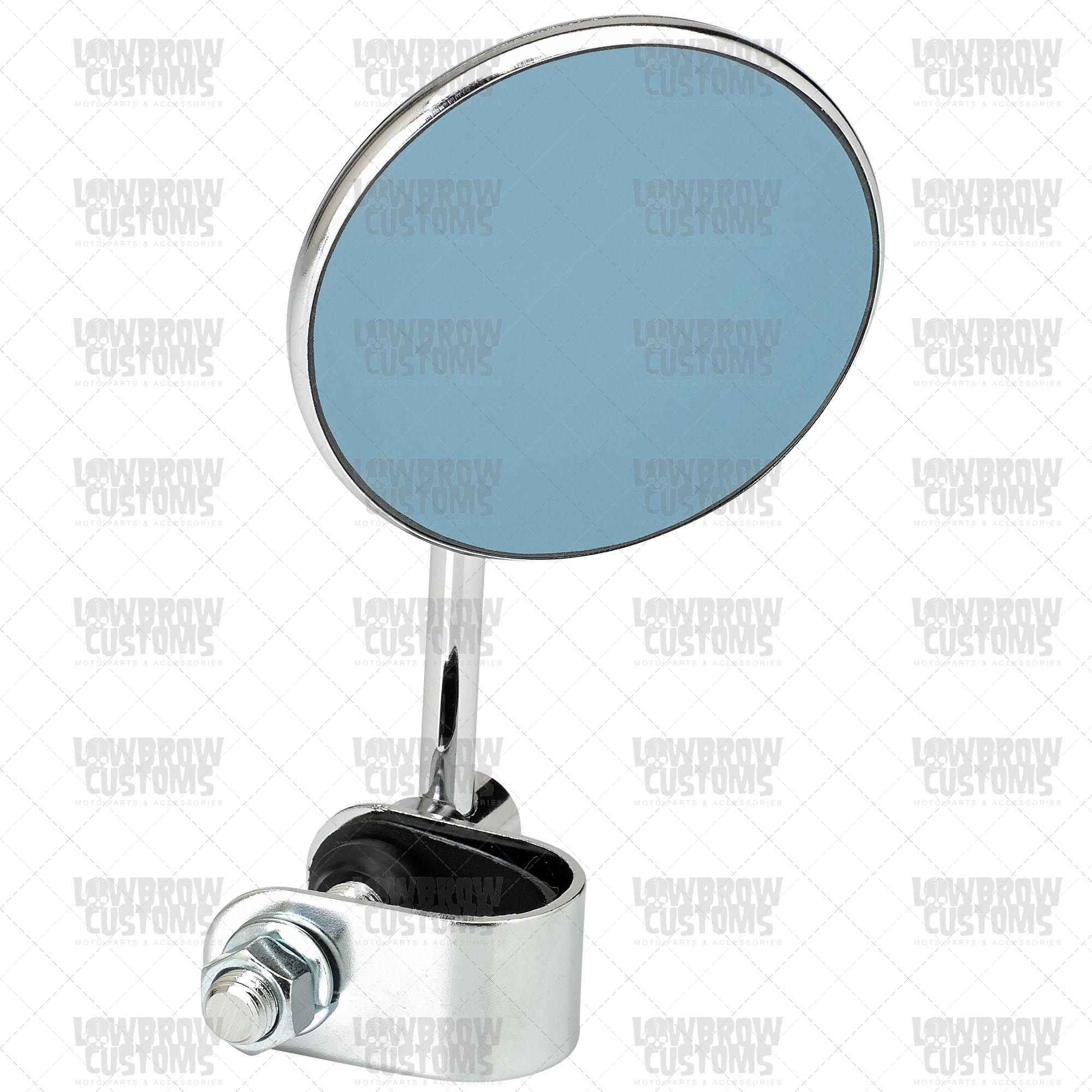 Chrome Retro Blue Glass 3 Round Mirror With Clamp For Blue Round Mirror (Image 4 of 15)