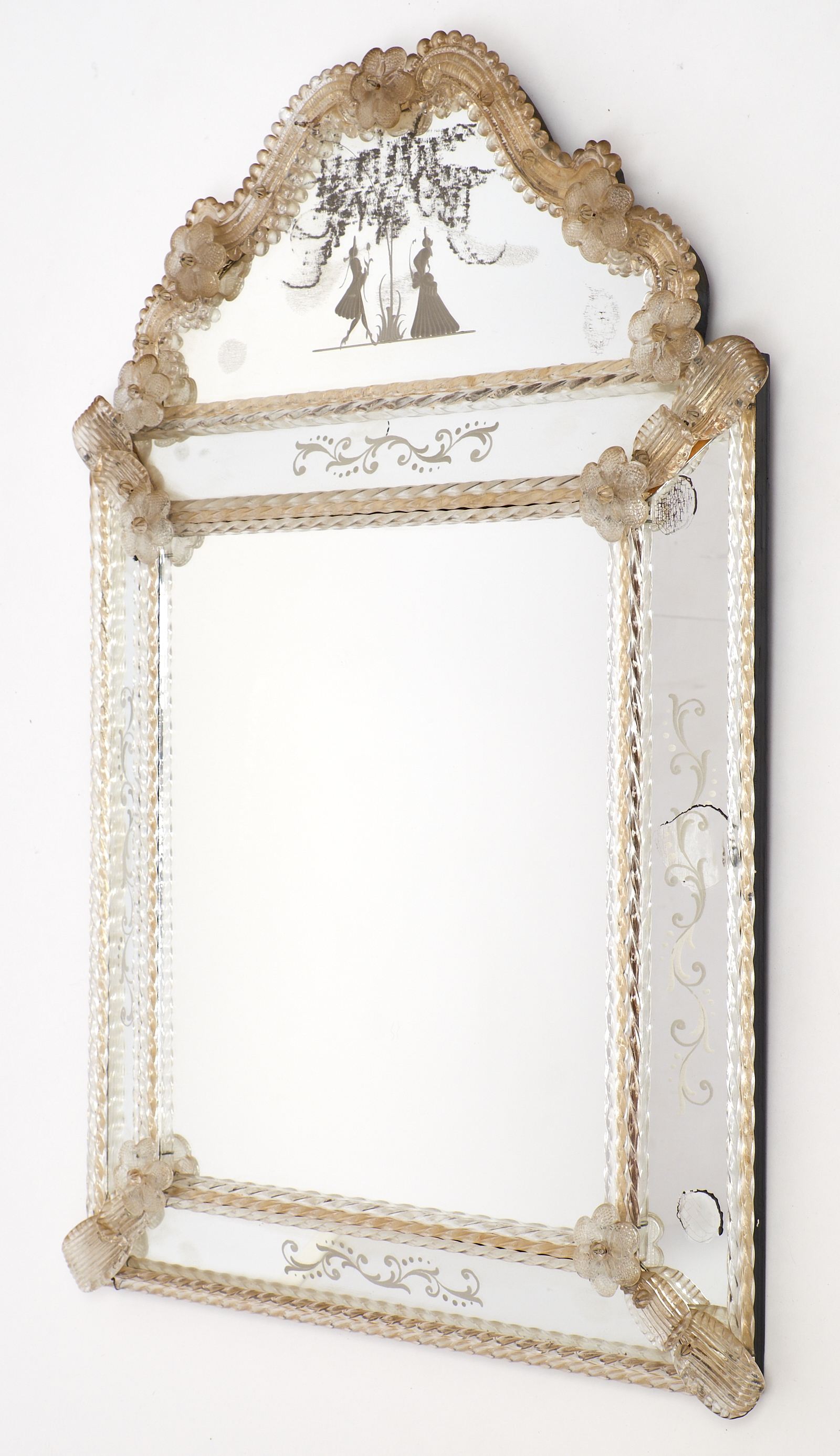 Circa 1920 Antique Venetian Glass Mirror Barbini Jean Marc Fray For Rectangular Venetian Mirror (View 12 of 15)