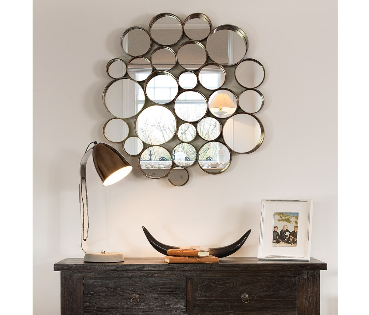 Circle Wall Mirror Wall Shelves Pertaining To Mirror Circles For Walls (View 3 of 15)