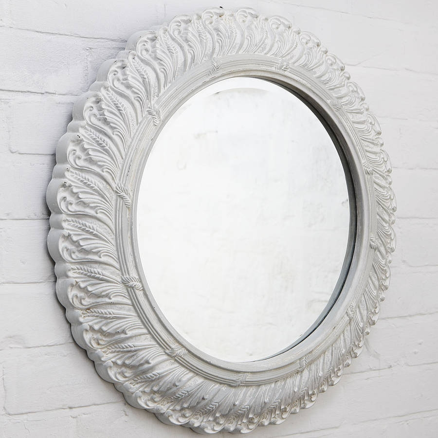 Circular Ornate French Mirror Hand Crafted Mirrors With White Ornate Mirror (Image 5 of 15)
