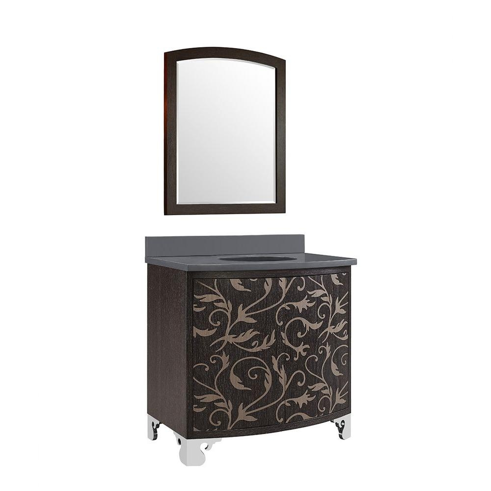 Clarendon 36 In Vanity In Marquetry With Quartz Vanity Top In With Clarendon Mirror (Image 3 of 15)