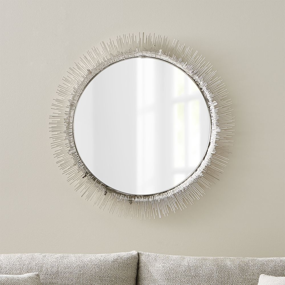 Clarendon Large Round Silver Wall Mirror Crate And Barrel With Clarendon Mirror (Image 4 of 15)
