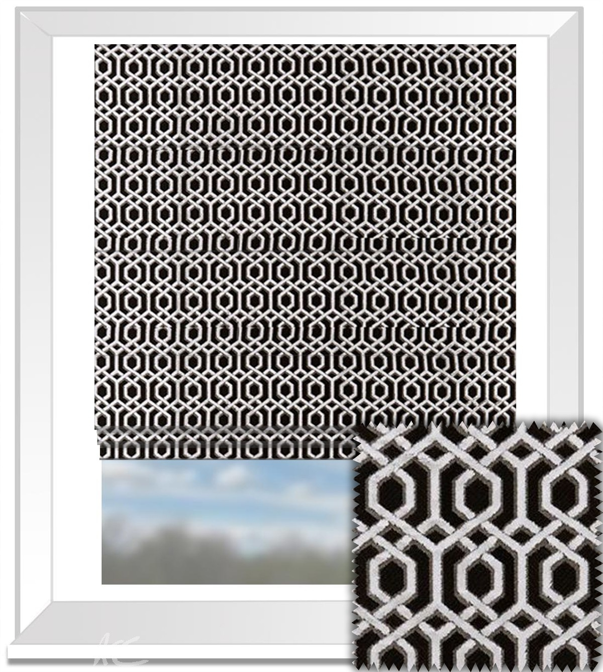 Clarke And Clarke Bw1042 Black And White Roman Blind With Black And White Roman Blinds (Image 10 of 15)