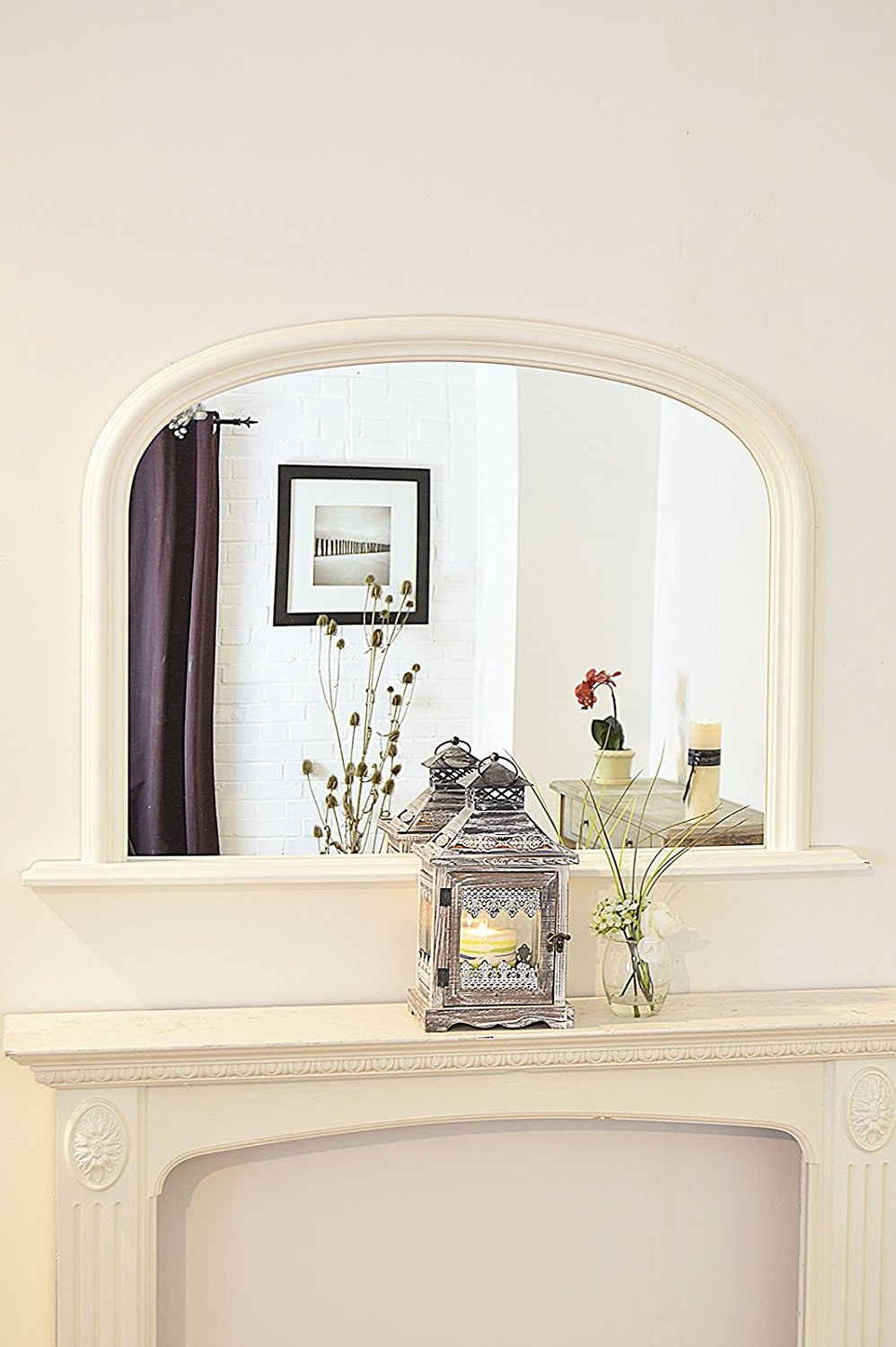 Classic French Inspired Black Overmantle Mirror With Elegant In French Inspired Mirrors (Image 6 of 15)