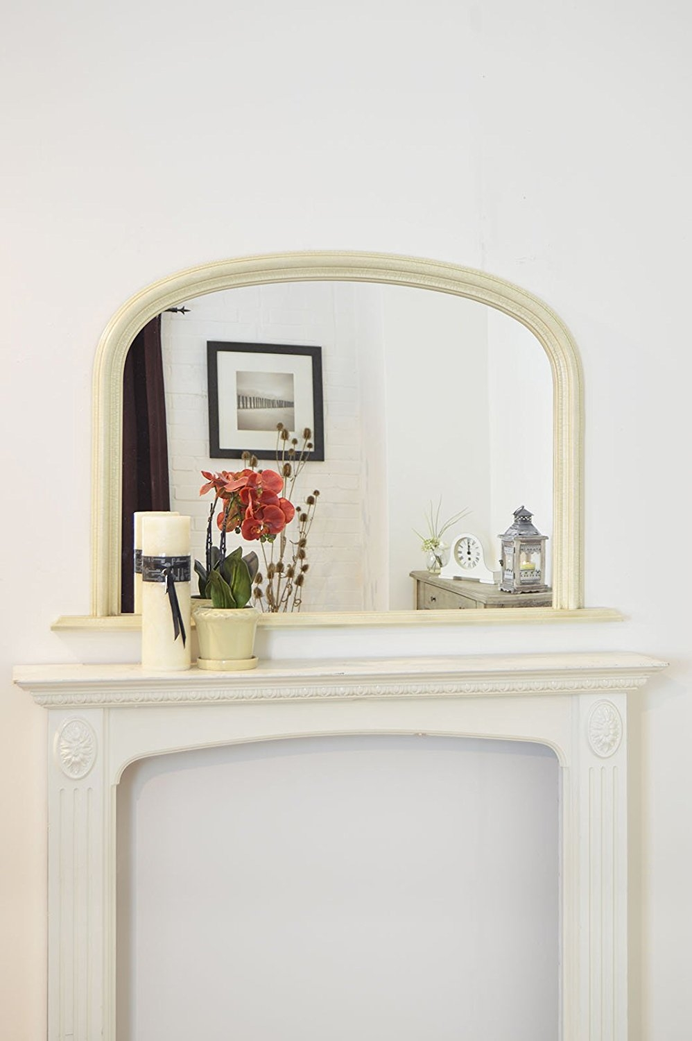 Classic French Inspired White Overmantle Mirror With Elegant For French Inspired Mirrors (Image 8 of 15)