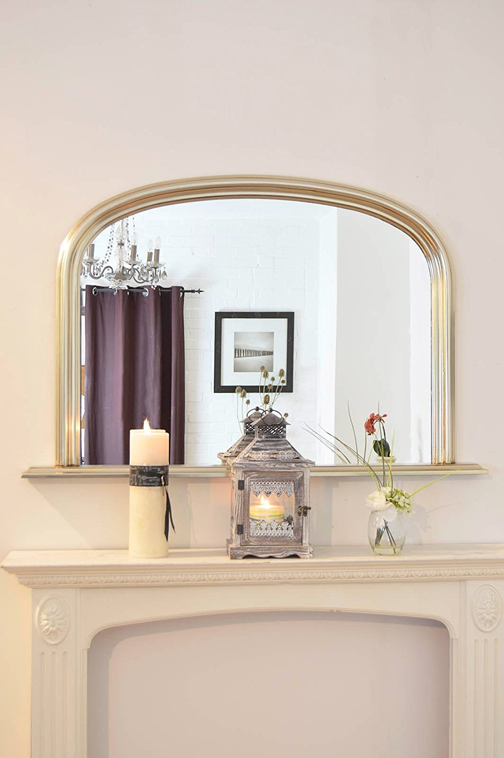 Classic French Inspired White Overmantle Mirror With Elegant Inside French Inspired Mirrors (Image 9 of 15)