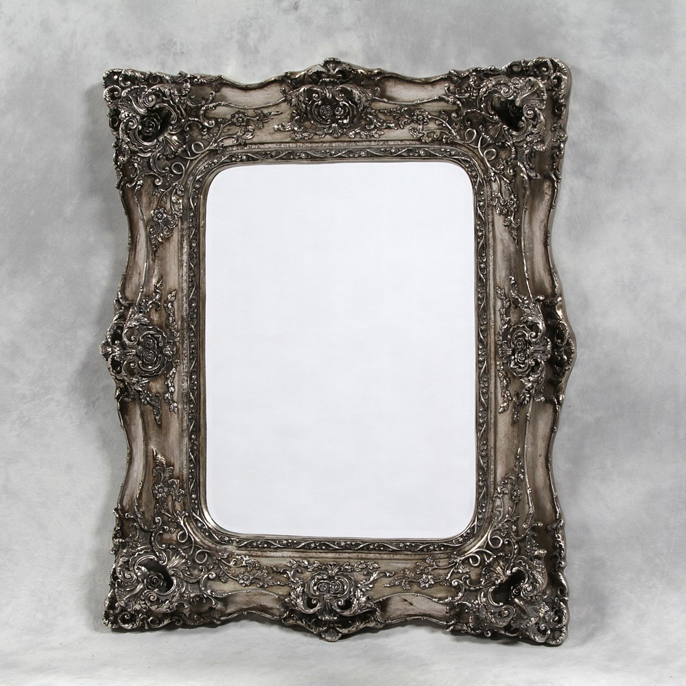 Classic Ornate Mirror In Silver In Silver French Mirror (Image 6 of 15)