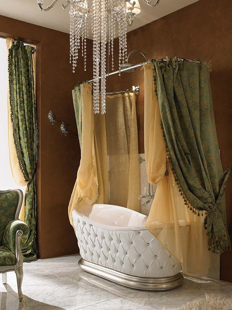 Classic White Tufted Bathtub Yellow Green Curtain Stainless Steel Within Curtain Head (Image 8 of 15)