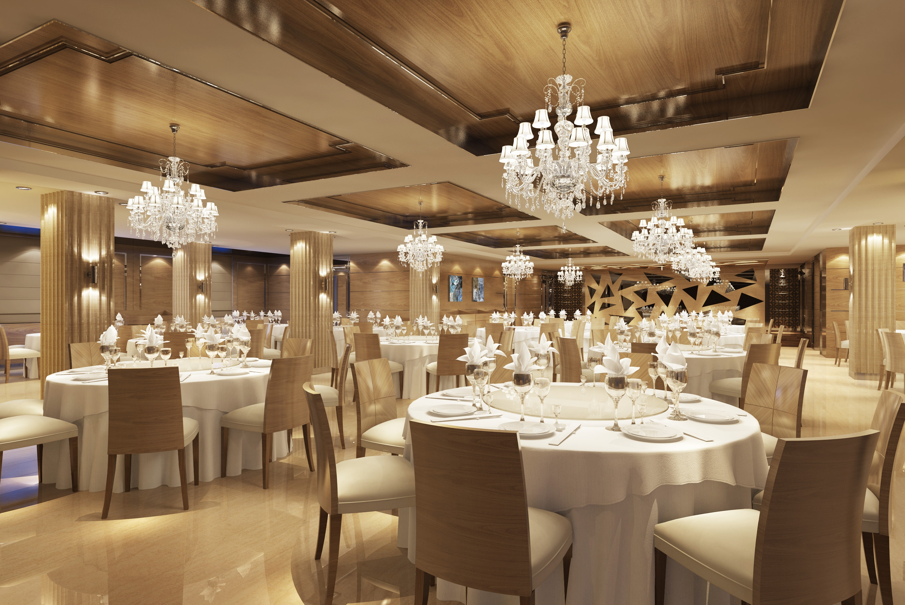 Classy Restaurant With Posh Chandeliers 3d Model Max Pertaining To Restaurant Chandeliers (Photo 2 of 15)