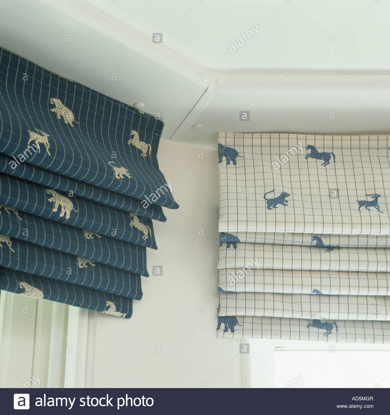 Close Up Of Animal Patterned Blue And White Check Roman Blinds Intended For Blue Roman Blinds (Image 11 of 15)