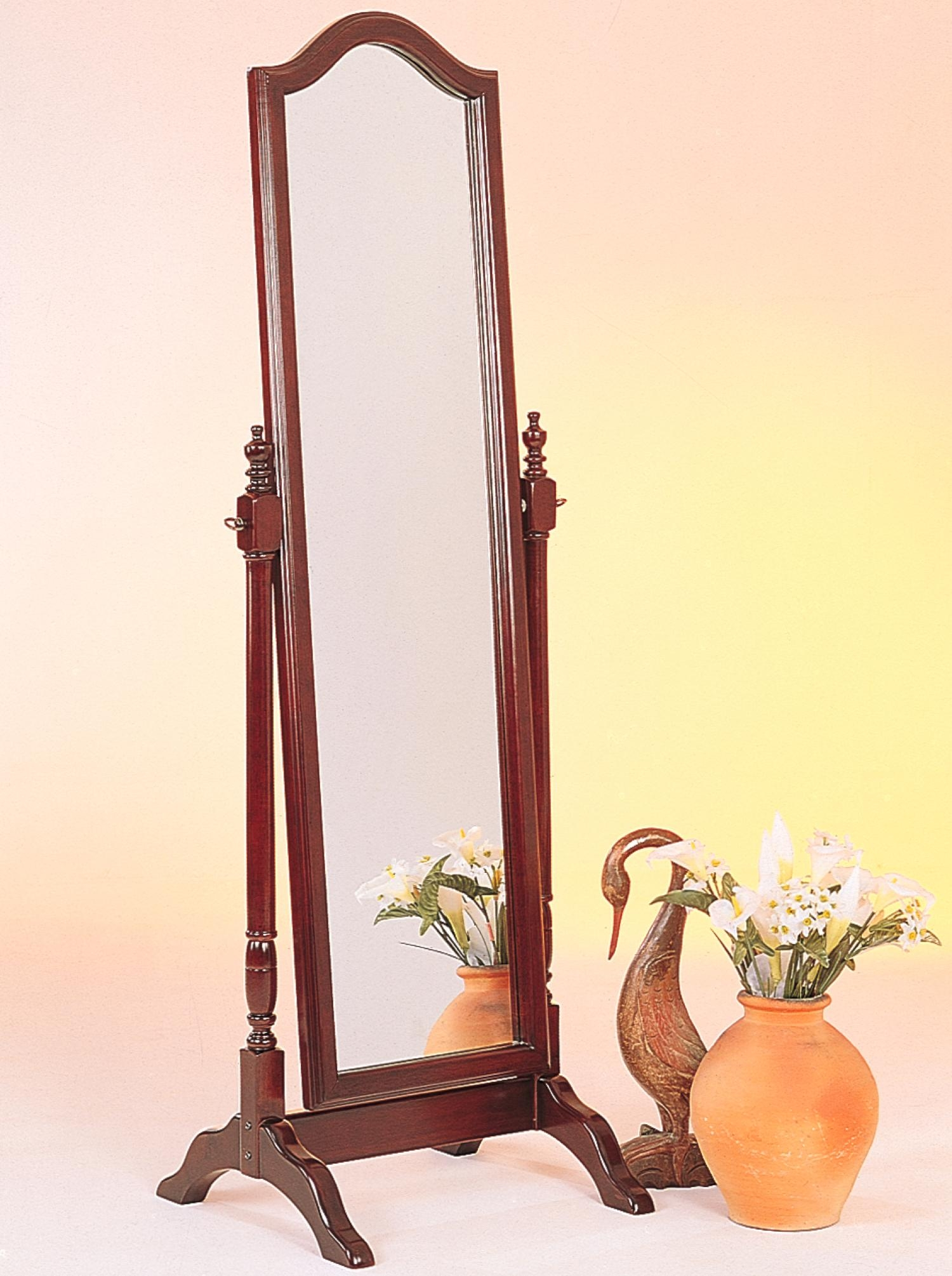 Coaster Accent Mirrors Cheval Mirror W Arch Top Prime Brothers Intended For Long Brown Mirror (Image 5 of 15)