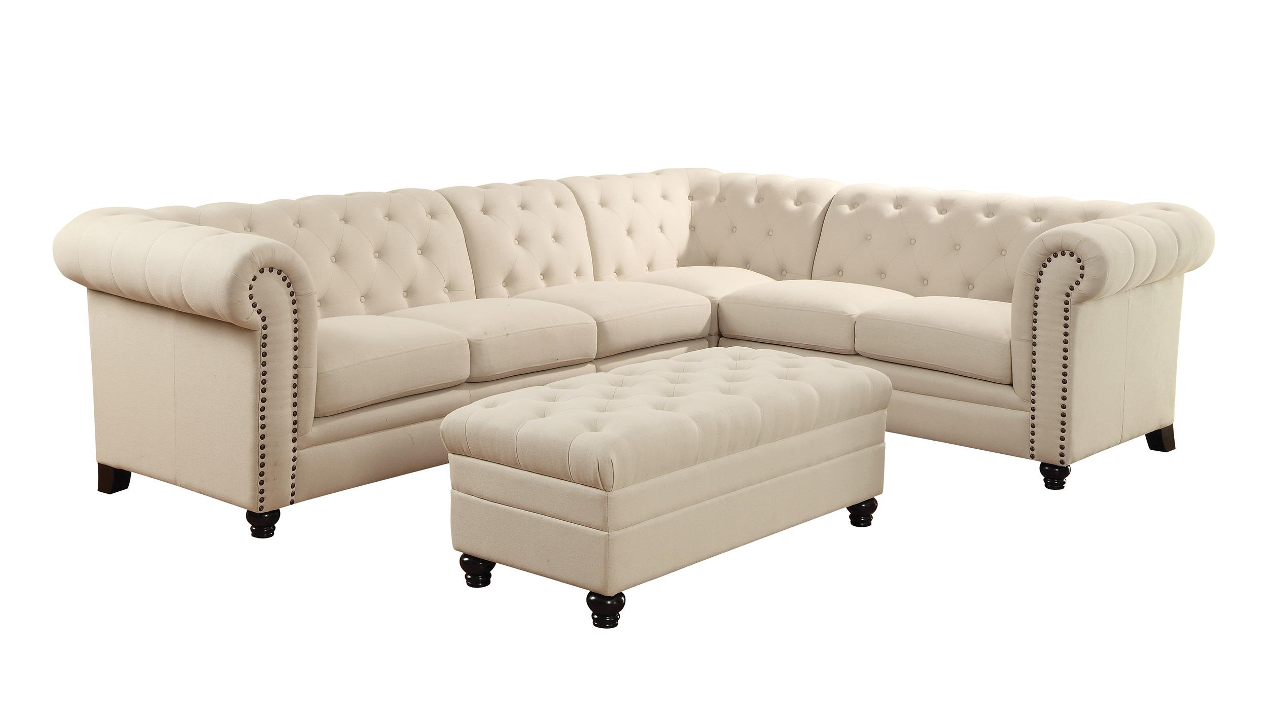Coaster Roy Button Tufted Sectional Sofa With Armless Chair Del In Armless Sectional Sofas (Image 9 of 15)