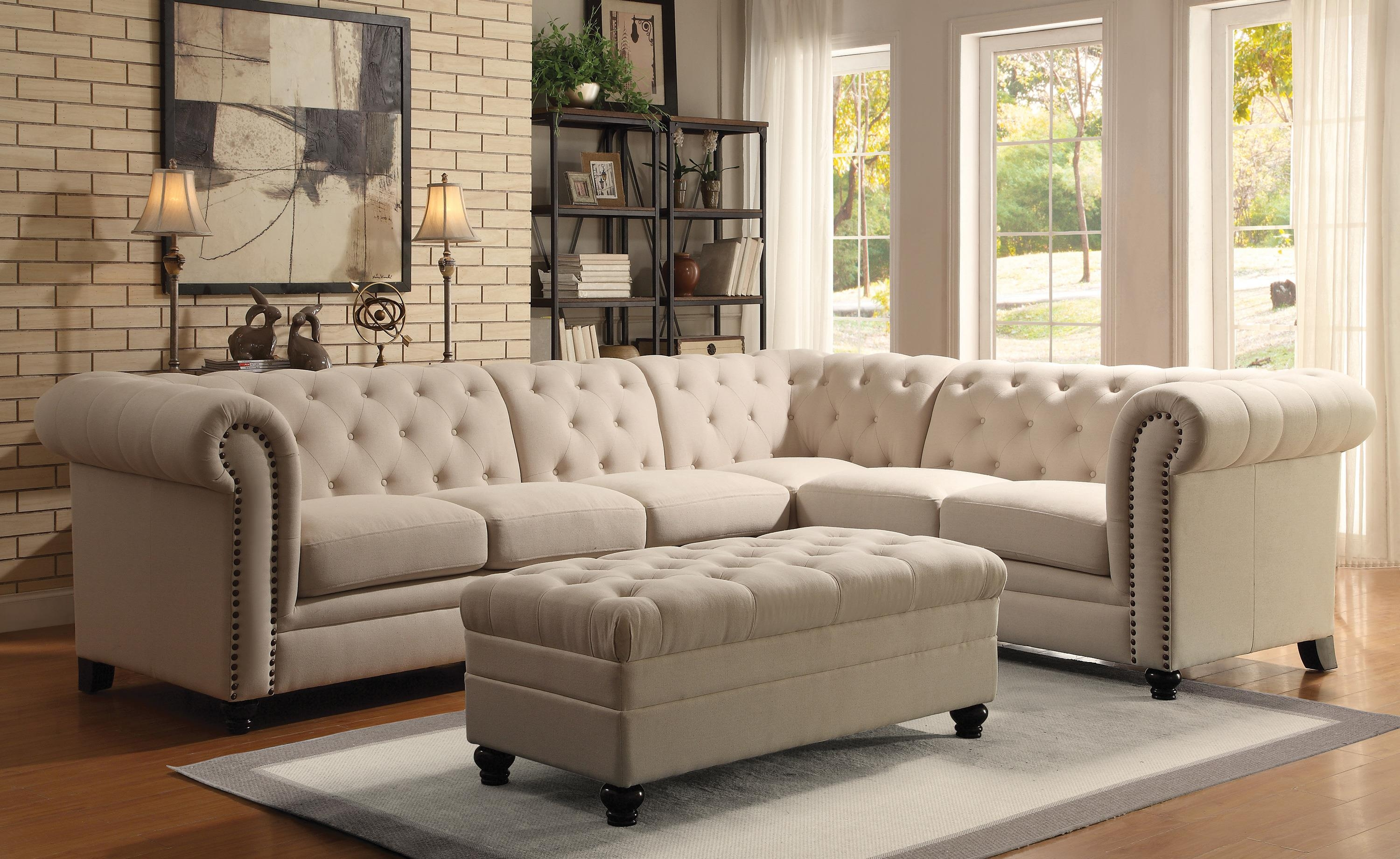 Coaster Roy Button Tufted Sectional Sofa With Armless Chair For Armless Sectional Sofas (Image 10 of 15)