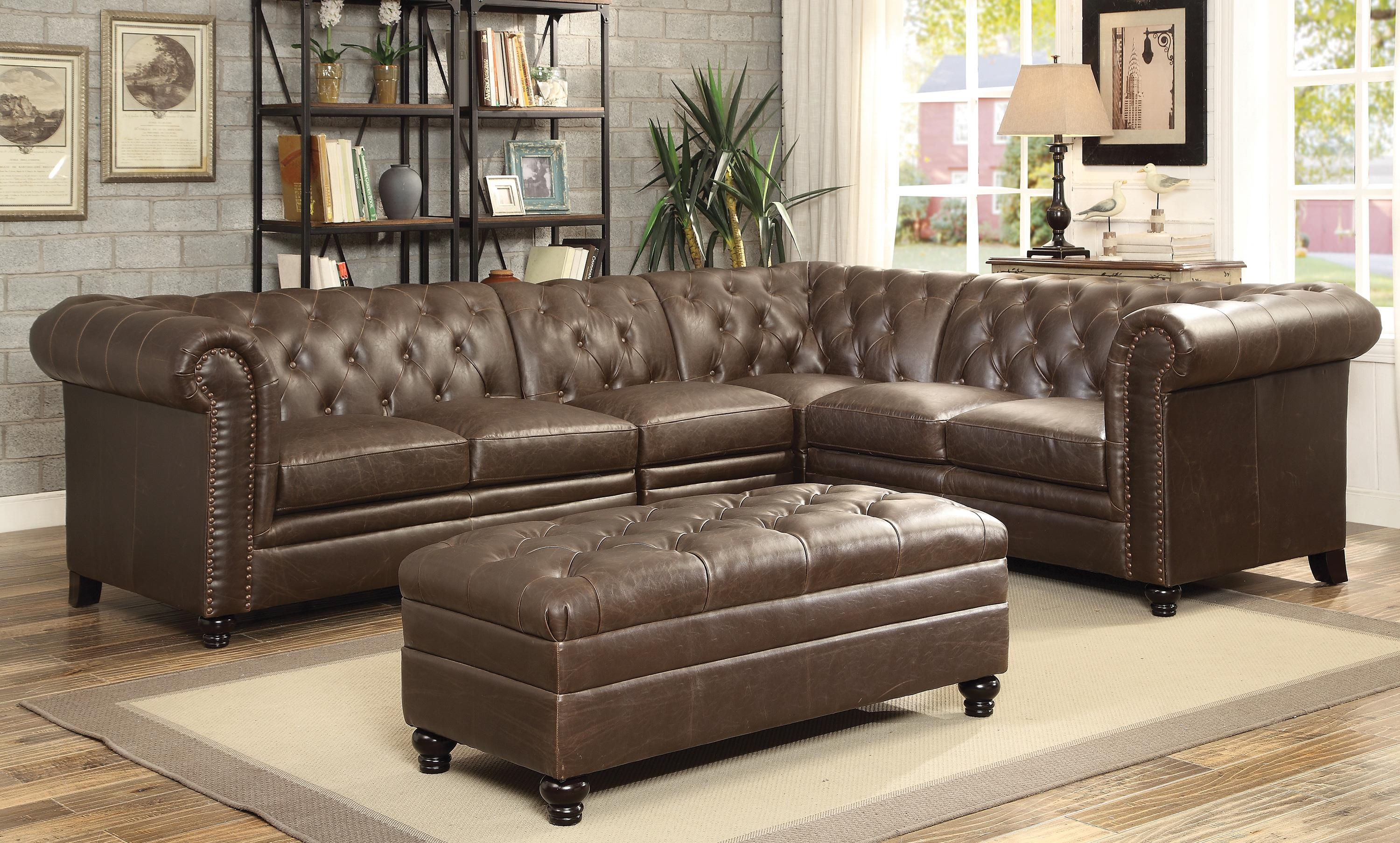 Coaster Roy Button Tufted Sectional Sofa With Armless Chair With Regard To Armless Sectional Sofas (Image 11 of 15)