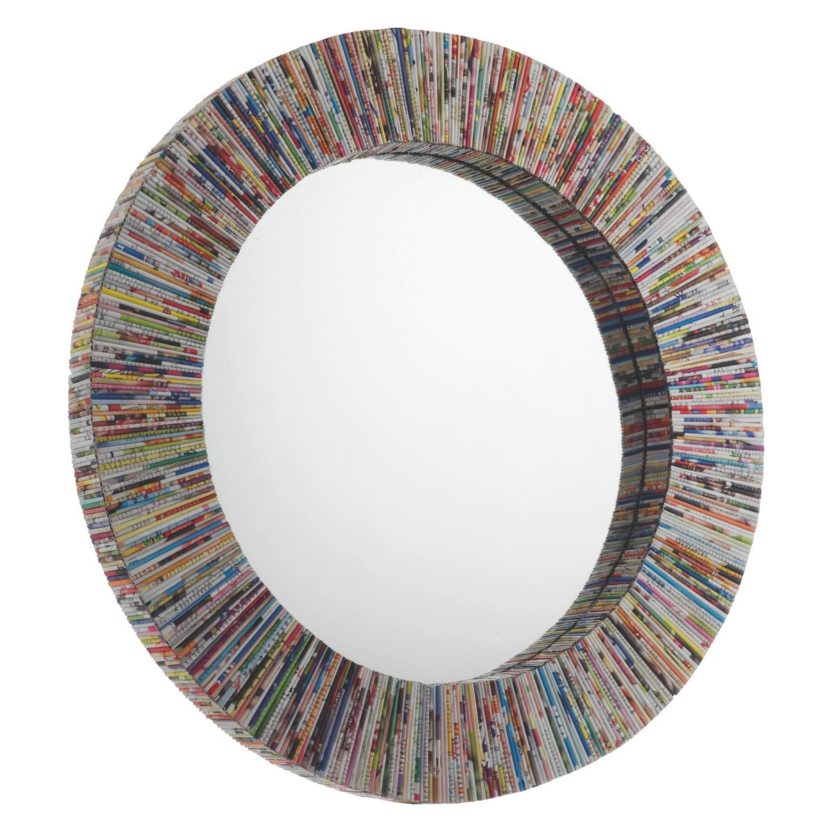 Cohen Multi Coloured Recycled Magazine Round Wall Mirror Buy Now Pertaining To Unusual Mirrors For Sale (Image 4 of 15)