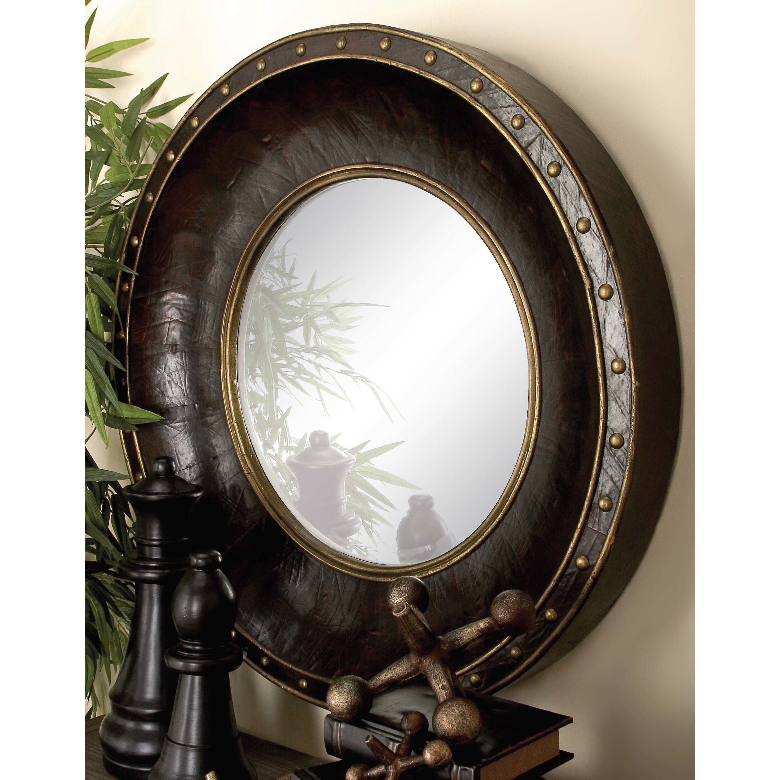 Cole Grey Wood And Leather Wall Mirror Wayfair Pertaining To Leather Wall Mirrors (Image 5 of 15)