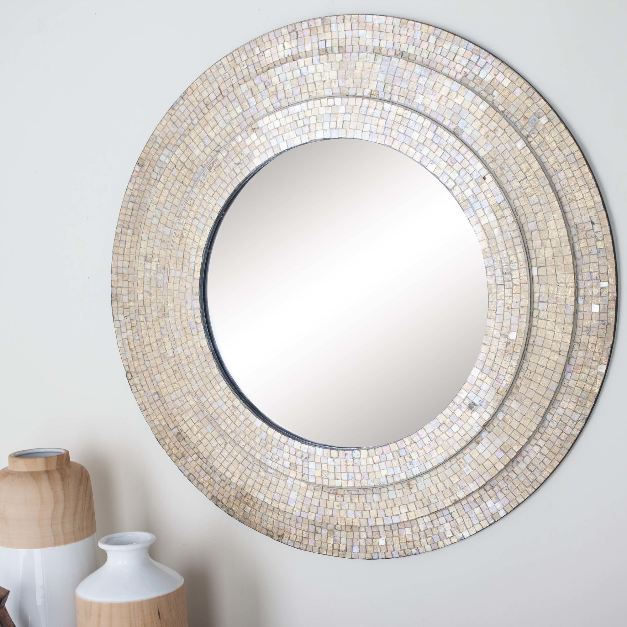 Cole Grey Wood Mosaic Wall Mirror Wayfair With Mosaic Wall Mirror (Image 2 of 15)