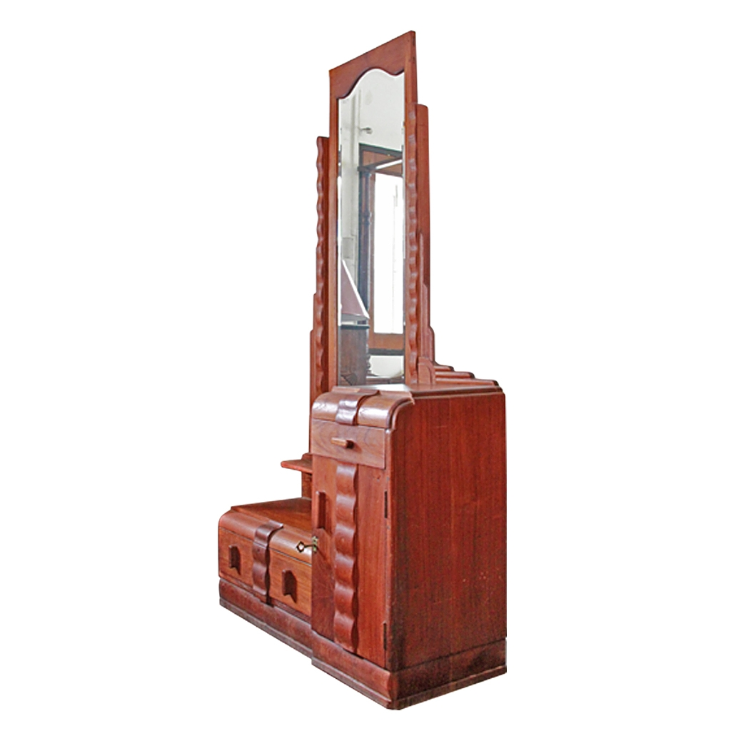 Colonial Burmese Teak Art Deco Vanity With Full Length Skyscraper Intended For Art Deco Full Length Mirror (View 11 of 15)