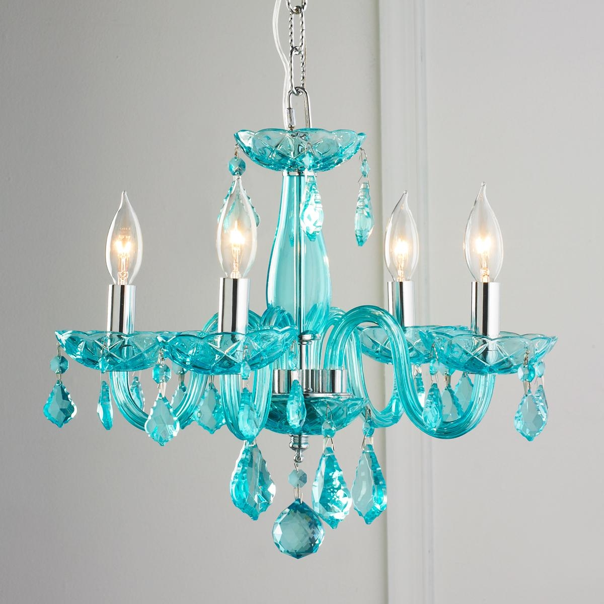 Color Crystal Mini Chandelier Powder Turquoise And Walk In Inside Small Glass Chandeliers (Image 4 of 15)